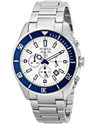 Bulova Mens 98B204 White Stainless Steel Watch with Link Bracelet