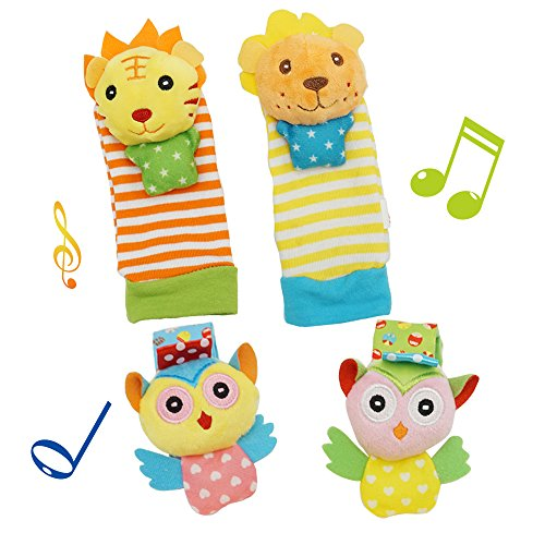 (Daisy Baby Soft Plush 4 Animal Wrists Rattle and Foot Finder Socks Set Best Gift Early Educational Development Toy for Boys and)