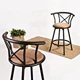 Bar Chairs Fanilife Set of 2 Barstools Round Seat with Back Rest Industrial Style Metal Bar Stool Adjustable Swivel Bar Counter Kitchen 24 Inch