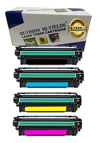 HI-VISION HI-YIELDS Compatible Toner Cartridge Replacement for HP 507A ( Black,Cyan,Yellow , 4-Pack ) ()