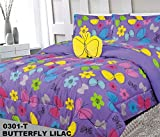 flower bed designs Elegant Home Multicolors Butterfly Butterflies Daisy Flowers Design 8 Piece Comforter Bedding Set for Girls/Kids Bed in a Bag with Sheet Set & Decorative Toy Pillow # Butterfly Lilac (Full Size)