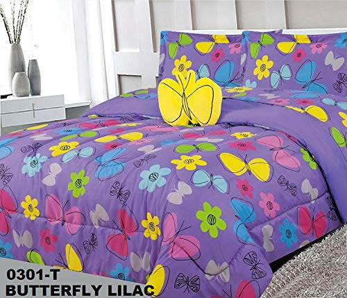 Elegant Home Multicolors Butterfly Butterflies Daisy Flowers Design 8 Piece Comforter Bedding Set for Girls/Kids Bed in a Bag with Sheet Set & Decorative Toy Pillow # Butterfly Lilac (Full Size)