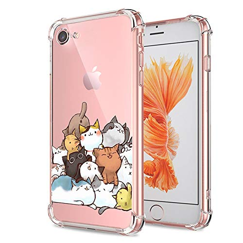 670c0604f9 iPhone 7 8 Case Cute, Ultra Crystal Transparent Gel Soft Slim Thin TPU  Silicone Clear with Design Cat Texture Shockproof Cover Funny Cartoon  Animal Bumper ...