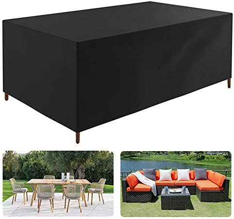 JJCKHE Rectangular Patio Furniture Cover, 420D Heavy Duty Cuboid Garden Furniture Set Cover, Outdoor Table and Chair Cover with Stroage Bag Black