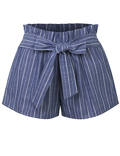 KOGMO Womens Casual Striped Summer Beach Shorts with Self Tie Bow-M-Blue by KOGMO