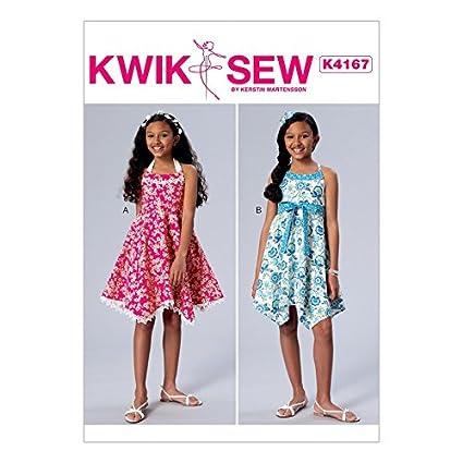 Amazon.com: Kwik Sew Girls Easy Sewing Pattern 4167 Halter Neck ...
