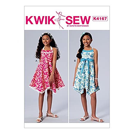 Kwik Sew Girls Easy Sewing Pattern 4167 Halter Neck Dresses & Sash ...