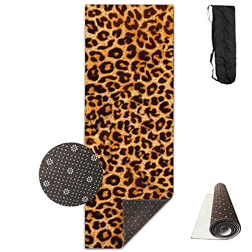 HHHSSS Long 70inch/wide 28inch Non Slip - Leopard Print.jpg Exercise Mat For Yoga, Workout, Fitness With Carrying Strap & Bag (Yoga Mat Leopard)