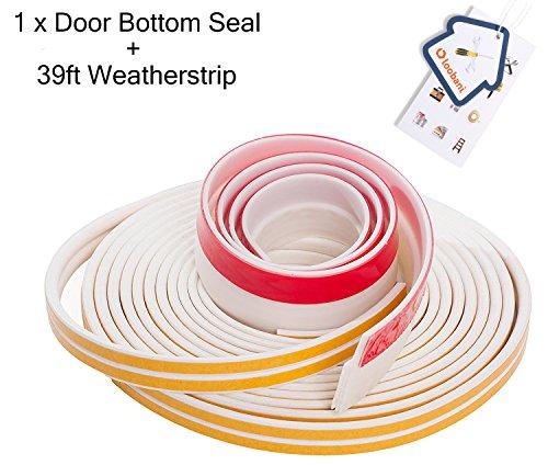 Loobani Adhesive Door Window Soundproofing Weather Stripping Sealing Kit Combo Set, 1 X Bottom Draft Sweep + 2 x D Type Weatherstrip Tape (Window Weatherstrip Set 2 Door)