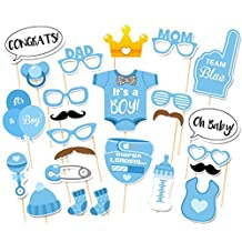 25 pcs Diaper Boy Version Photo Booth Props for Baby Shower Party