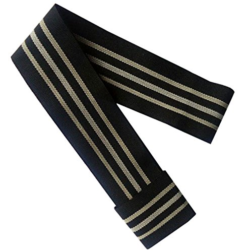 Gamboa Standard Genuine Hat Band - Black with White Stripes (White Stripes Band)