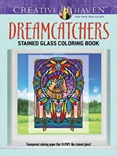 Creative Haven Dreamcatchers Stained Glass Coloring Book Adult