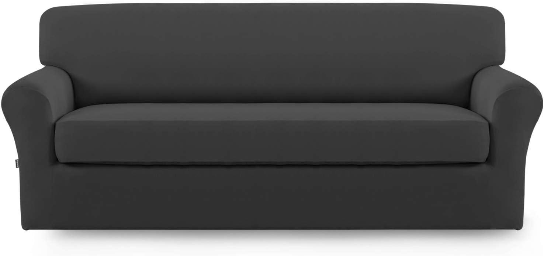 Stretch Sofa Slipcover,2-Piece Sofa Cover Furniture Protector Couch Micro Fiber Super Soft Sturdy with Elastic Bottom Pets,Kids,Children,Dog,Cat(Sofa,Dark Gray)
