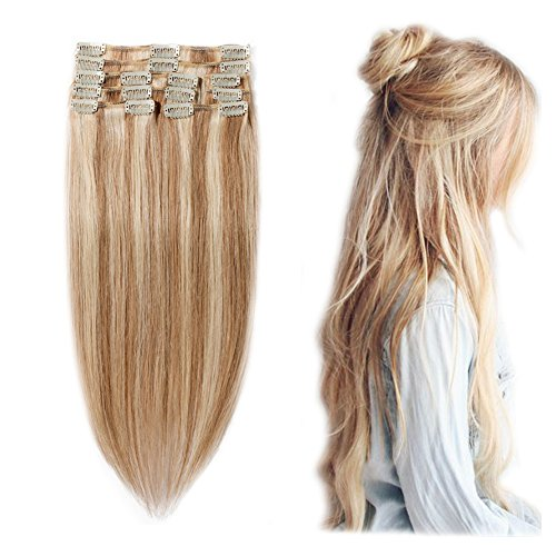 "Clip in 100% Remy Human Hair Extensions #12/613 8""-24"" Grade"