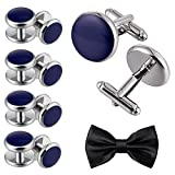 Aienid Cufflinks Silver Blue Stanless Steel Studs and Cufflinks Set for Men Wedding Party Jewelry