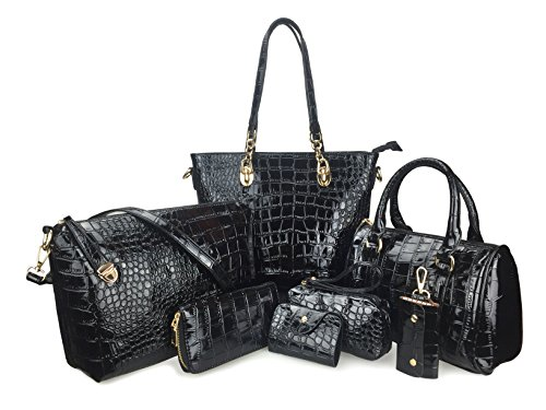 Hoxis Pack of 7 Bags Women Multi-purpose Classic Design Patent Purse Leatherette Shoulder ()