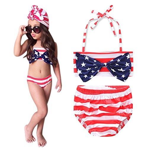 Infant Girls Halter (Sunbona Little Baby Girls Halter Neck Striped Swimwear Set Bikini Tops+Triangle Briefs Beach Swimsuit Suit (2T(1~2years), Red))