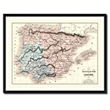 Spain Portugal Vintage Antique Map 36011 Print on Canvas with Picture Frame Gift Ideas Office Décor Livingroom Housewarming Birthday - Black 28'' x 37''