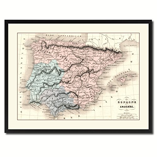 Spain Portugal Vintage Antique Map 36011 Print on Canvas with Picture Frame Gift Ideas Office Décor Livingroom Housewarming Birthday - Black 28'' x 37'' by AllChalkboard