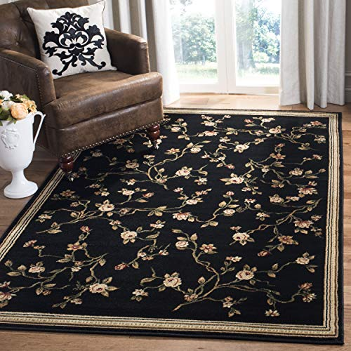 Black Rug Floral - Safavieh Lyndhurst Collection LNH220A Traditional Floral Black Area Rug (3'3