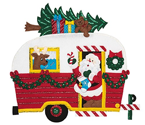 Bucilla Felt Applique Wall Hanging Kit, 17.5 x 19-inch, 86915E Christmas Camper by Bucilla