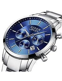 Watch Mens Watches Elegant Luxury Business Multifunction Stainless Steel Wristwatch Quartz Analog Chronograph Waterproof Date Window Calendar Silver Blue