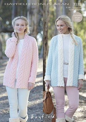 d854a9a5399f33 Sirdar Hayfield Bonus Aran with Wool Knitting Pattern - 7378 Coat   Amazon.co.uk  Kitchen   Home