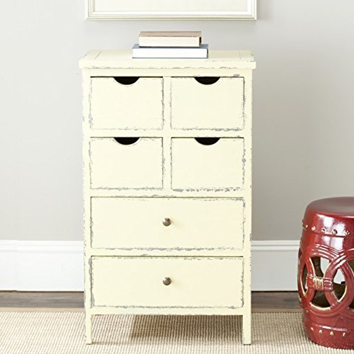 [Safavieh American Home Collection Avignon Antiqued Cream 6-Drawer Chest] (Antique Bookcase Cabinet)