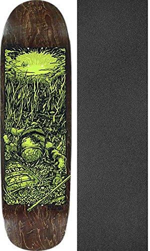 残りヘルメット砂のReal Skateboards RobbieブロッケルBright Futureブラウン/グロースケートボードデッキ – 8.6 X 31.8 CMでMob Grip Perforated Griptape – 2アイテムのバンドル
