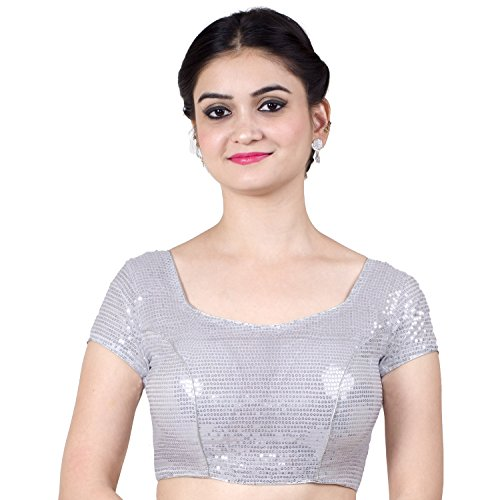 Chandrakala Women's Designer Bollywood Readymade Silver Saree Blouse Padded (B107SIL4)