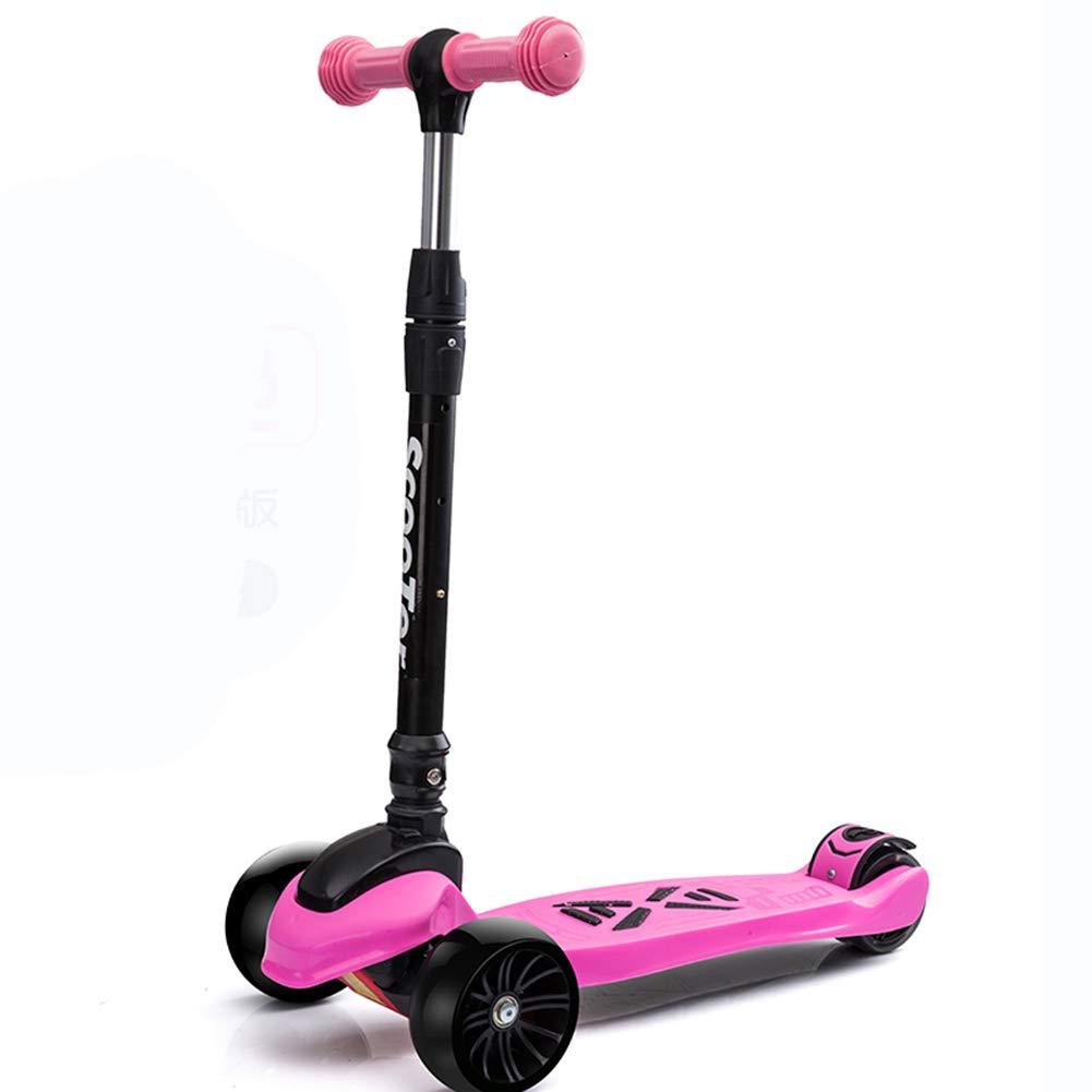 独特の上品 キックスクーター三輪車スケートボードペダル式乗用スタントスクーターLED調節可能な折りたたみTバーハンドルライトアップホイール付き B07HB6FPSV Pink B07HB6FPSV Pink Pink, 超大特価:45873a87 --- a0267596.xsph.ru