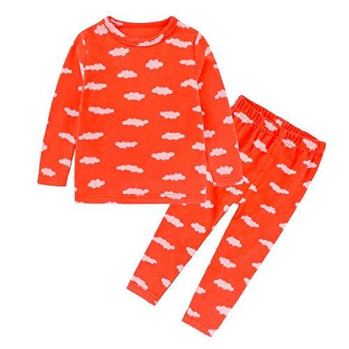 Clearance,Yang-Yi Hot 2018 Toddler Baby Boy Girl Kids Sleepwear Set Print Tops T-Shirt +Pants Pajama (Orange, 130cm/6T)