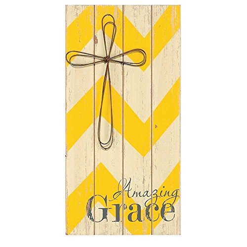 Dicksons Amazing Grace Petal Cross Sunshine Chevron 8 x 16 Wood Wall Sign Plaque ()