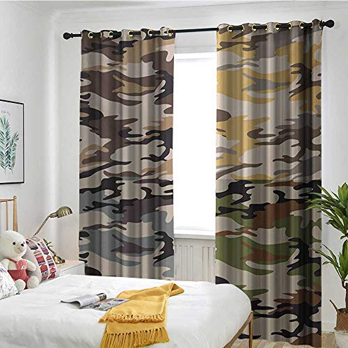 (TRTK Customized Curtains Trolley Bag Curtain Insulation Board Home Decoration Camo,Camouflage Patterns in Four Going Undercover Combination Illustration,Multicolor)