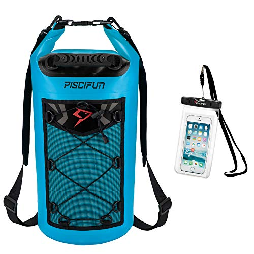 - Piscifun Waterproof Dry Bag Backpack Floating Dry Backpack for Water Sports - Fishing Boating Kayaking Surfing Rafting Camping Gifts for Men and Women Free Waterproof Phone Case Light Blue 20L