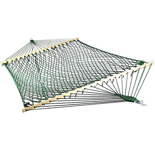 Green Polyester Hammock (Sunnydaze Extra Large Caribbean Soft-Spun Polyester Rope Hammock with Spreader Bars, Green, 450 Pound)