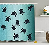 Marine Shower Curtain by Ambesonne, Baby Sea Turtles Swimming Silhouette from the Bottom of Ocean Underwater Display, Fabric Bathroom Decor Set with Hooks, 70 Inches, Teal Dark Blue