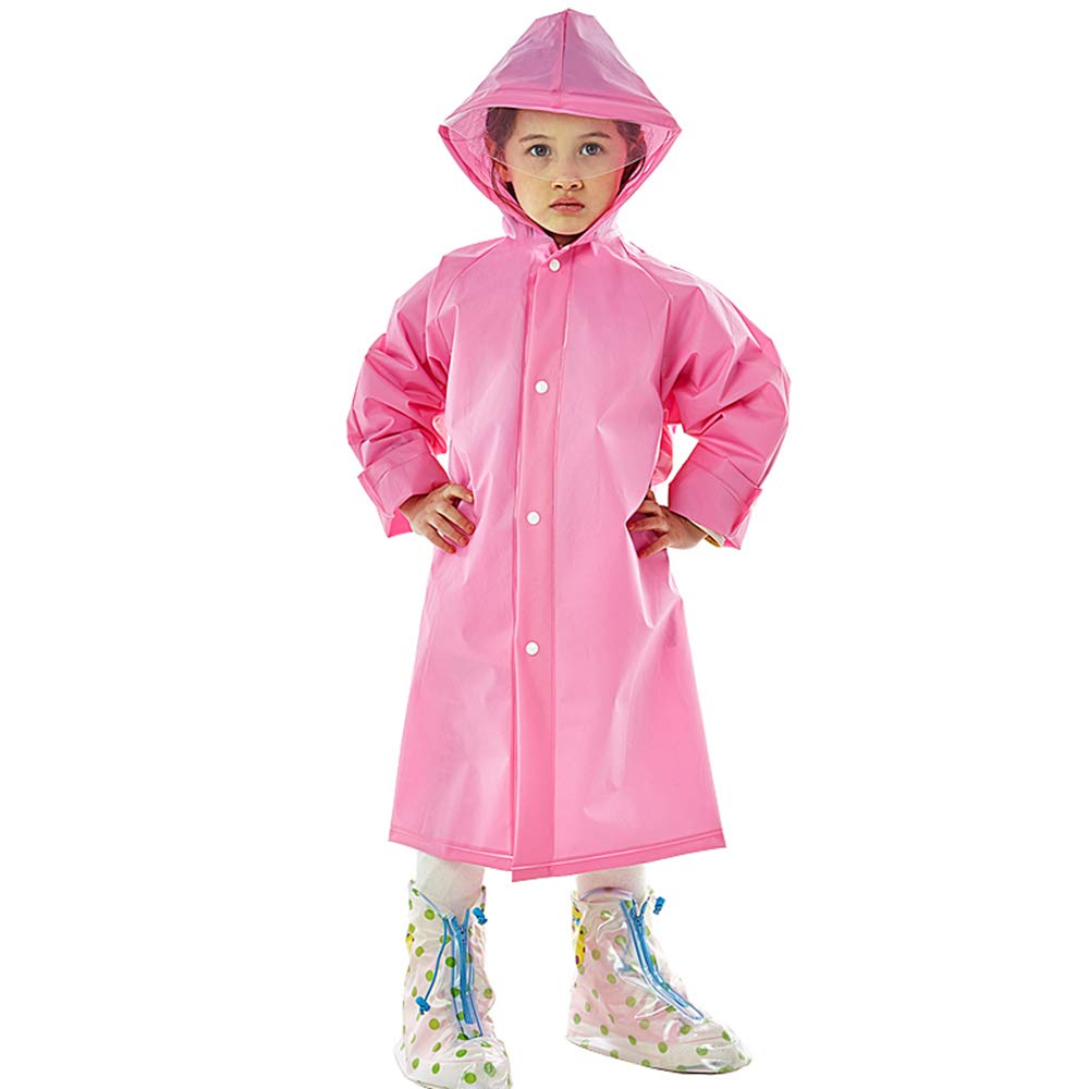 LINENLUX Waterproof Hooded Raincoat Jacket Coat Kids Pockets