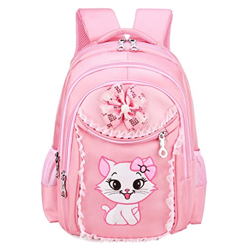 (Cute Pretty Pink Cat Backpack/Bags for Girls Kids Backpack for School)