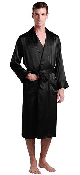 Lilysilk Batas Hombre De 100% Seda De 22 Momme Con Escote Solapa, Color Negro, Talla L: Amazon.es: Ropa y accesorios