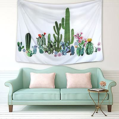 "Sunmner Cactus Tapestry Wall Hanging for Living Room Bedroom Dorm Home Decor (51.2""X59.1"", SG125) - HIGH QUALITY: This Cactus Tapestry is made from top quality micro fiber peach, comfy and stretchy, skin-friendly, and soft, no fade, no strange odor, anti-allergy. TWO SIZE: M, 51.2 X 59.1 inches (130cm X 150cm); L, 59.1 X82.7 inches (150cm X 210cm). Two size available, choose the right size according to your idea. MULTI-FUNCTION: This Cactus Tapestry can be used to decorate many places, perfect for hanging in the living room, the room wall decoration, bedroom dorm home decor, also can be used as a bedspread, sofa cover, tablecloth or curtain and of course as a perfect gift for your loved ones. - living-room-decor, living-room, home-decor - 51rl0ov4PjL. SS400  -"