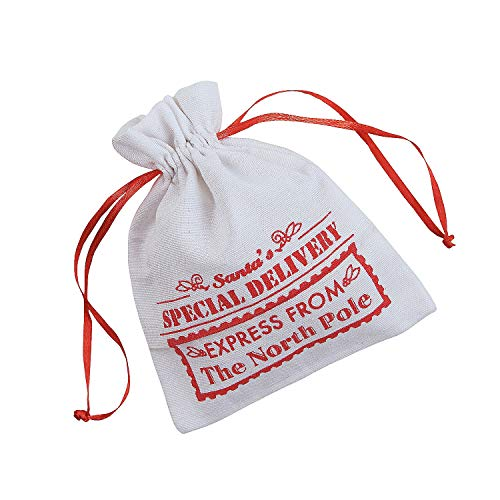 Christmas canvas bags with drawstring - 12 pack -Santa's special delivery express from the North Pole