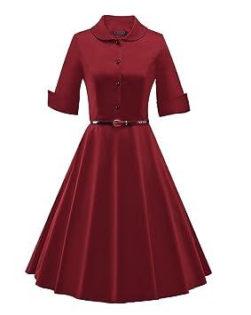 LaoZan Vestido de fiesta Rockabilly A-line Vestido vintage años 50 con falda para mujer