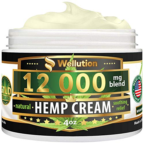 51rl1RVSlbL - Hemp Cream - 12000 mg / 4 oz - Natural Seed Oil Extract for Knee, Lower Back, Foot, Muscle, Wrist and Joint Pain Relief - Extra Strength Massage Lotion with Arnica, Menthol and Organic Oils