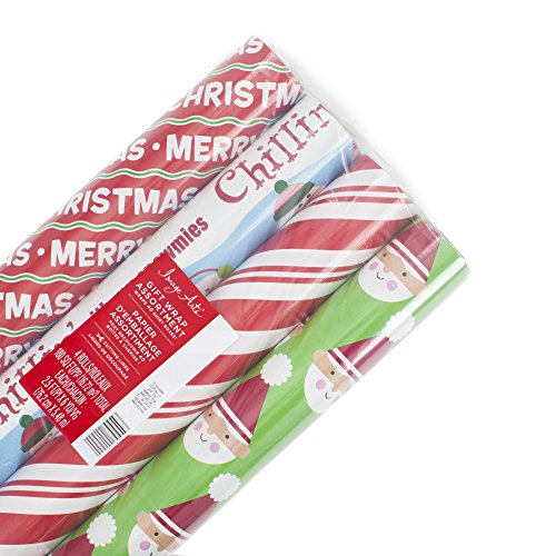 Image Arts Christmas Wrapping Paper Bundle with Cut Lines on Reverse, Santa (Pack of 4, 180 sq. ft. ttl.)