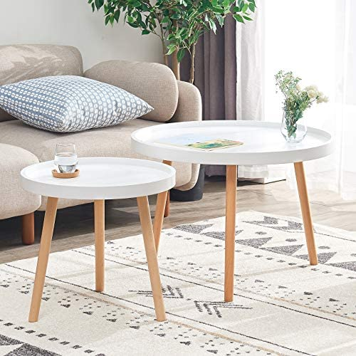 IBUYKE Coffee Table Set of 2, MDF Panels and Beech Legs End Tables, Modern Furniture Decor Round Side Table for Living Room Balcony Home and Office, Large 28.15, Small 19.69, White, URF-9914