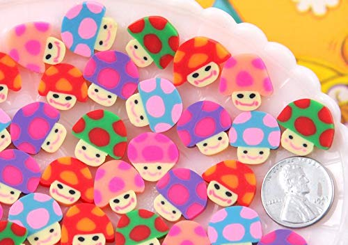 15mm Little Fimo Mushroom Guys Bright Color Trippy Kawaii Polymer Clay Cabochons - 20 pc Set ()