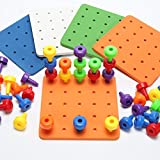 T-Juan MM Peg Board Set for Toddlers and Preschoolers Occupational Therapy Montessori Color Recognition Sorting & Counting(Fine Motor Toy Pegboard Set with 30 Pegs in Board)