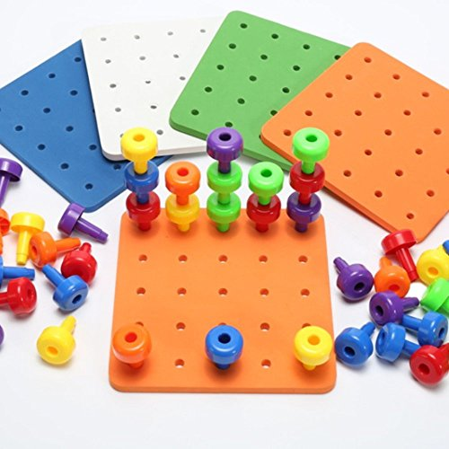 Counting Peg (T-Juan MM Peg Board Set for Toddlers and Preschoolers Occupational Therapy Montessori Color Recognition Sorting & Counting(Fine Motor Toy Pegboard Set with 30 Pegs in Board))