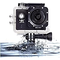 Action Camera Waterproof WiFi Cam 4K DVR 2.0 Inch LCD Display Cam DV Camcorder 170 Degree Wide Angle IP68 30m with Mounts and Accessories (Black)